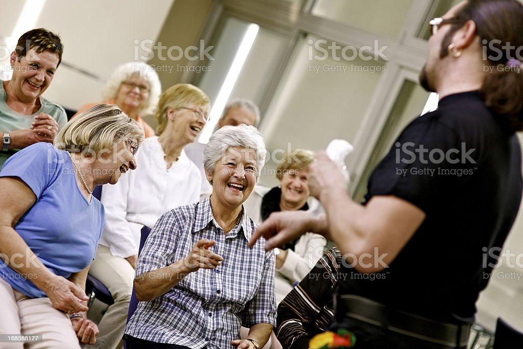 Seniors on seminar stock photo