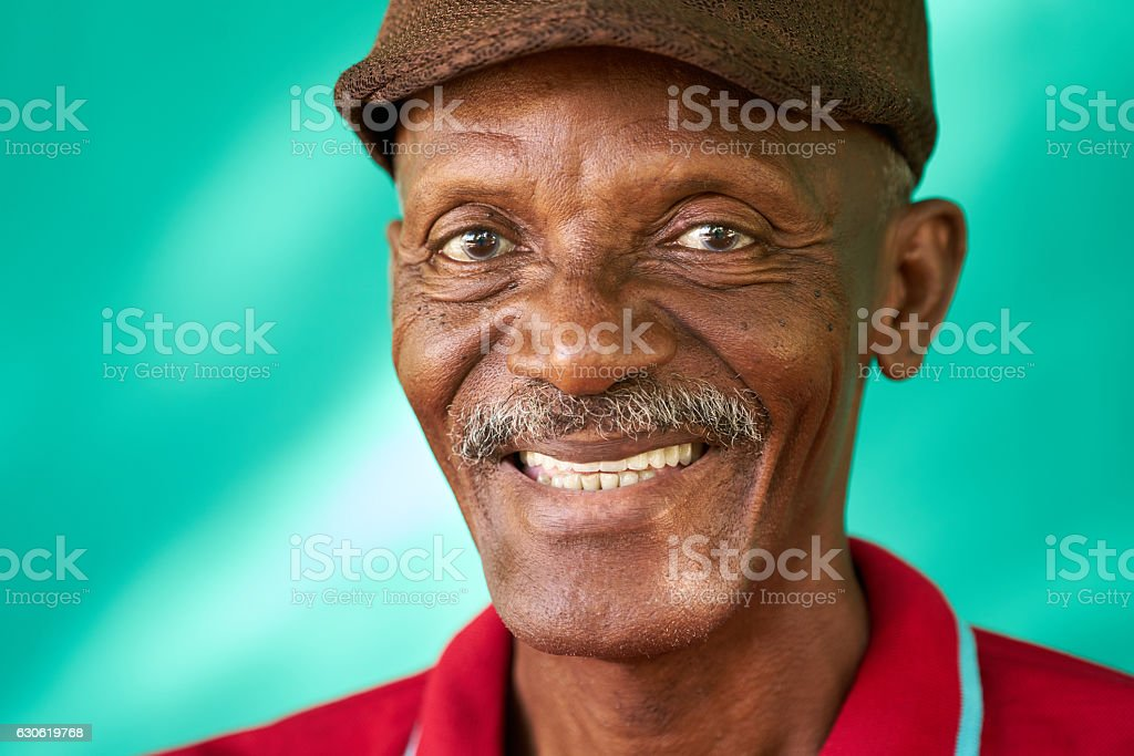Seniors People Portrait Happy Old Black Man With Hat stock photo