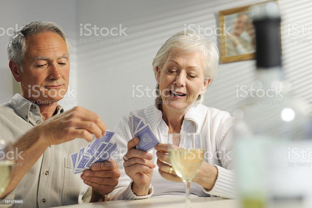 seniors playing cards royalty-free stock photo