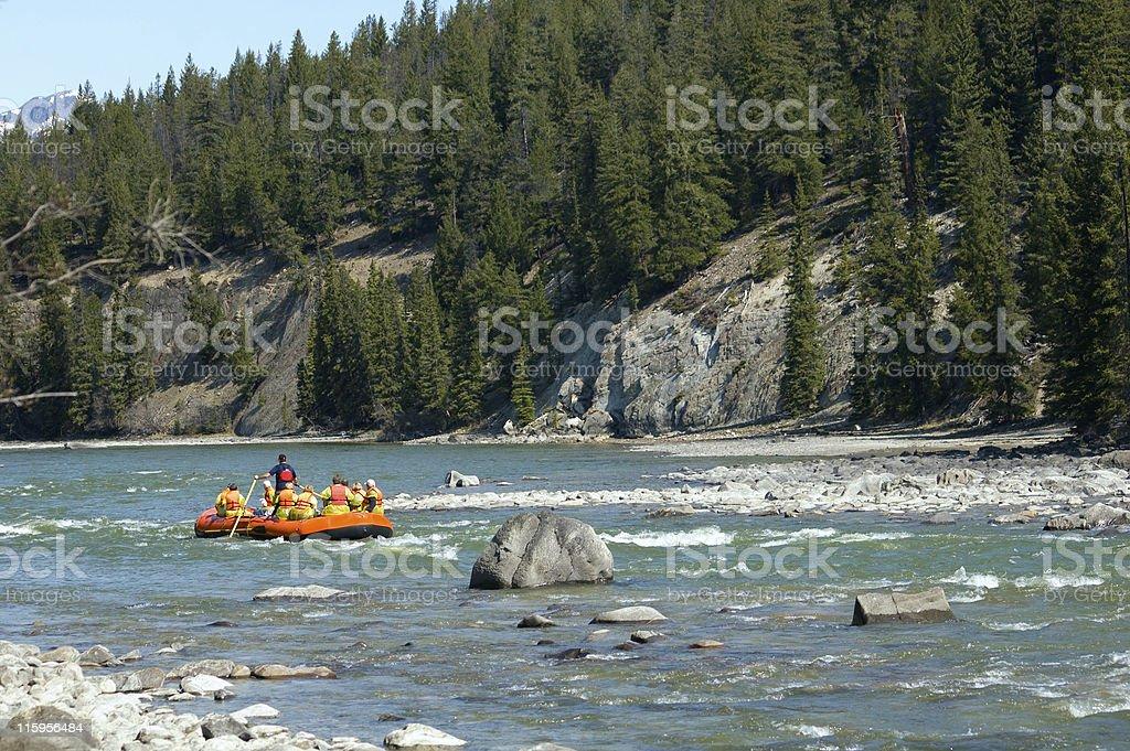Seniors River Rafting royalty-free stock photo