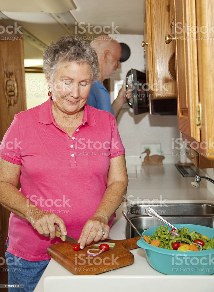 Seniors RV - Cooking royalty-free stock photo