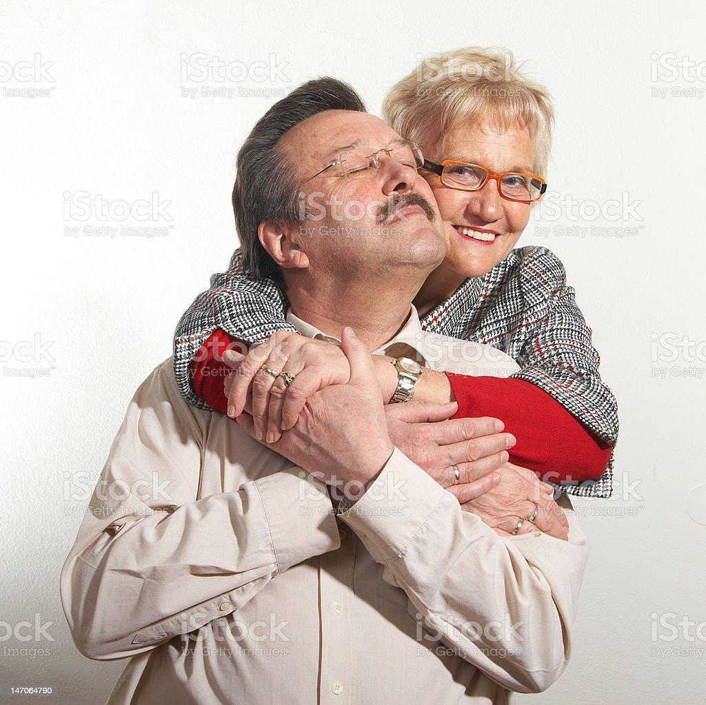 Seniors showing love royalty-free stock photo