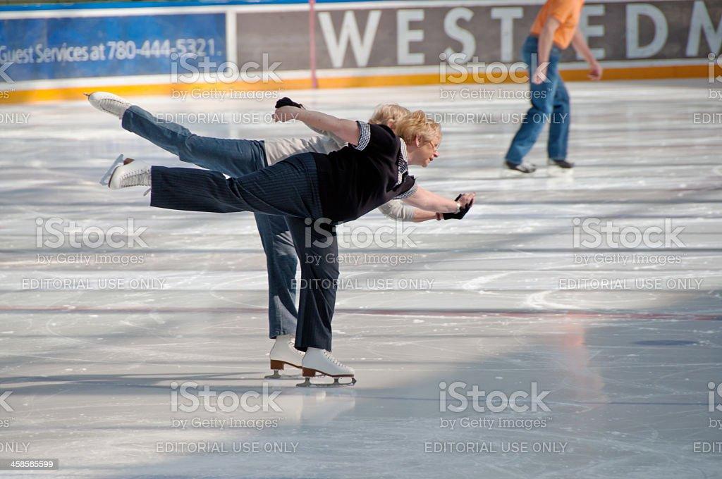 Seniors Skating ... West Edmonton Mall stock photo