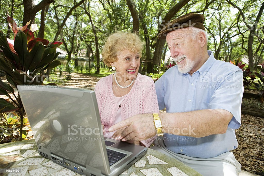 Seniors Surf The Web royalty-free stock photo