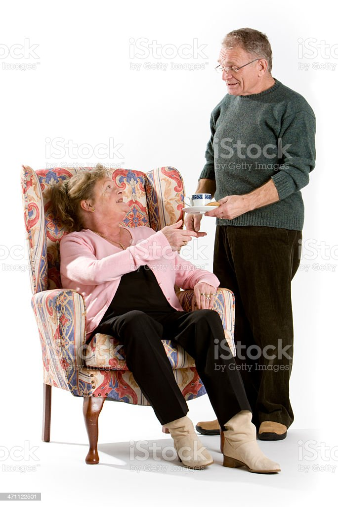 seniors: tea is served royalty-free stock photo