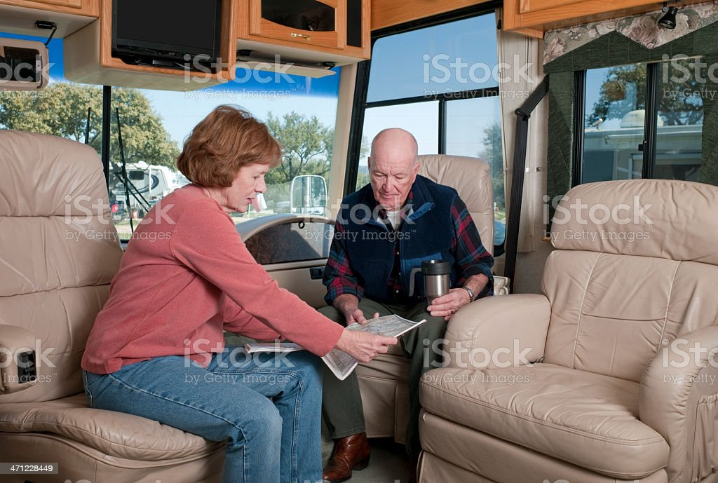 Seniors Traveling in Motorhome stock photo