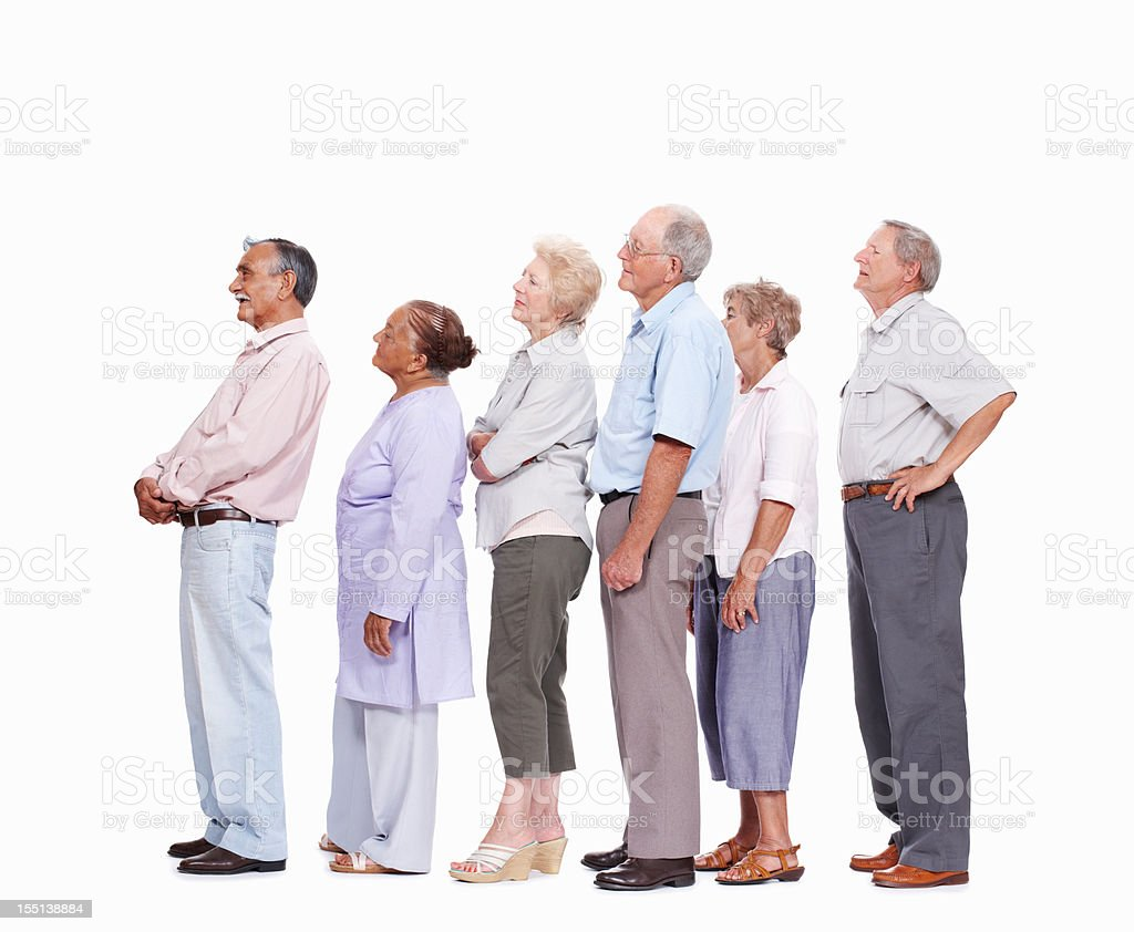 Seniors waiting in queue royalty-free stock photo