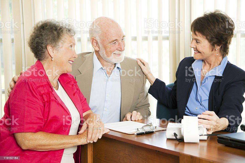 Seniors with Accountant royalty-free stock photo
