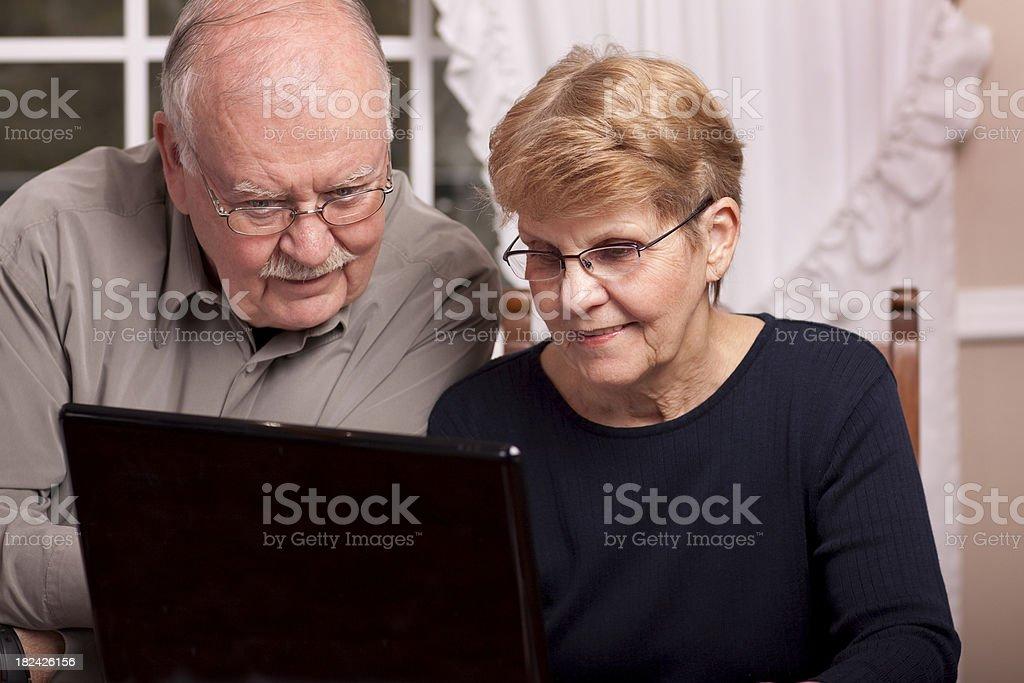 Seniors working at laptop (Series) royalty-free stock photo