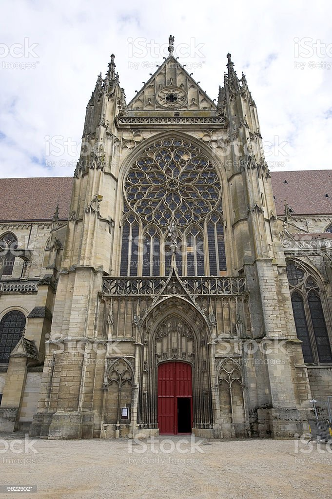 Sens (Burgundy, France): Facade of the Cathedral, in gothic style royalty-free stock photo