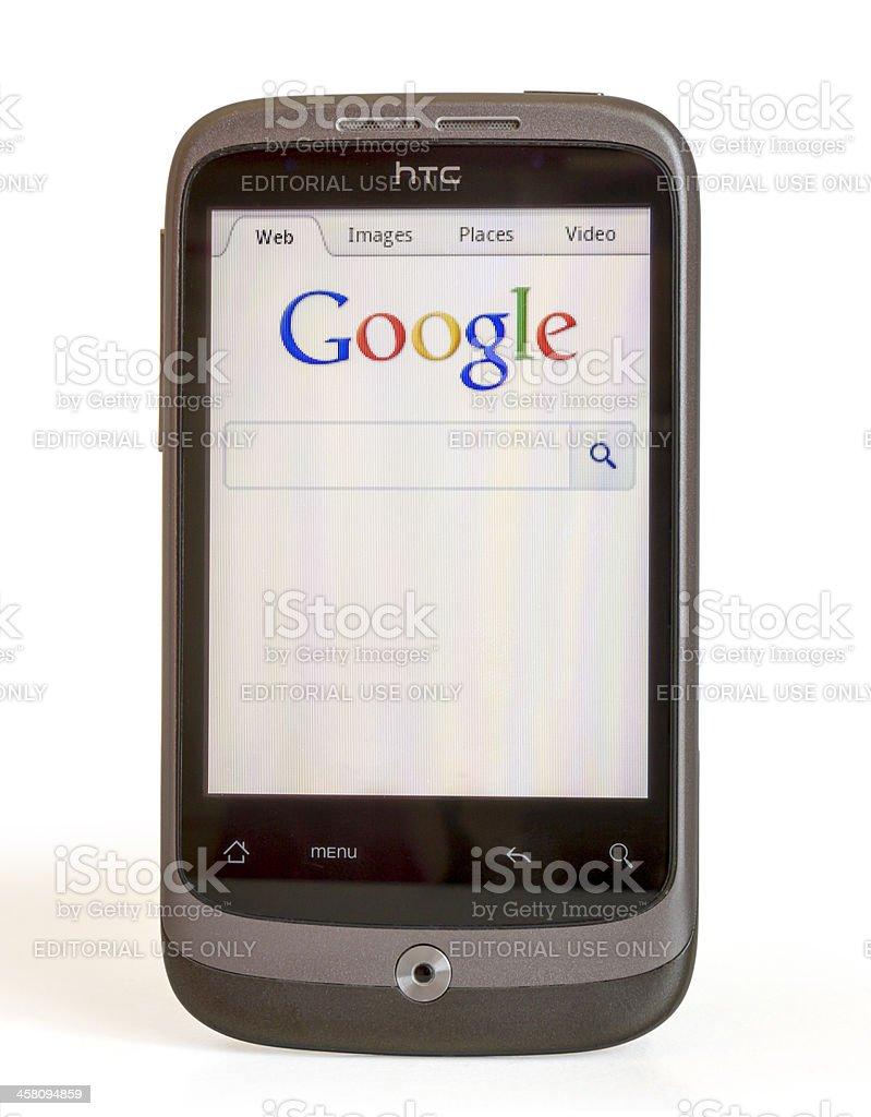 HTC Sense  displaying the Google search page royalty-free stock photo