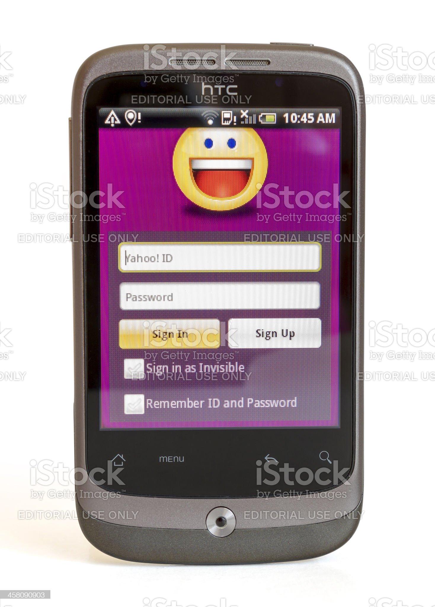 HTC Sense showing Yahoo Messenger royalty-free stock photo