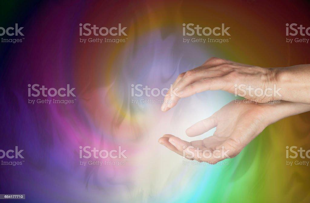 Sensing healing energy field stock photo