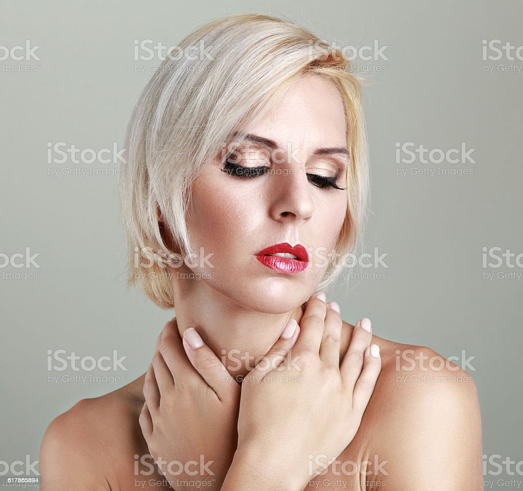 sensitive woman stock photo