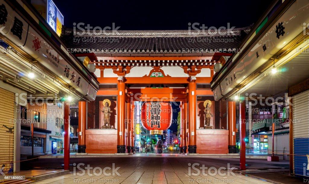 Sensoji Red gate is lighten up at night. stock photo