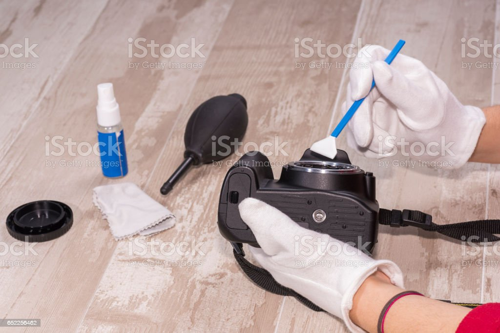 Sensor cleaning. stock photo