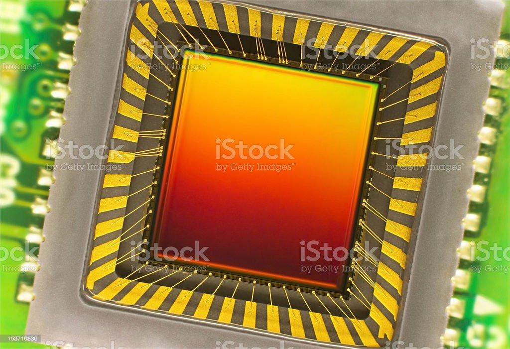 CCD sensor on a card stock photo