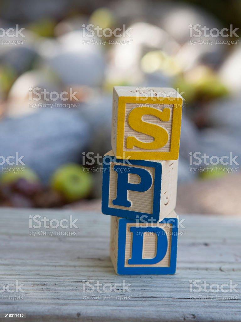 Sensory Processing Disorder (SPD) blocks stock photo