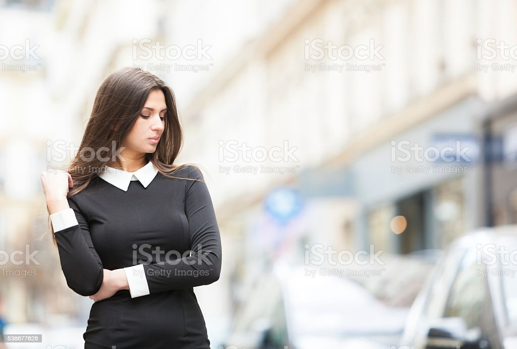 Sensual Attractive Woman In A Shopping Area stock photo