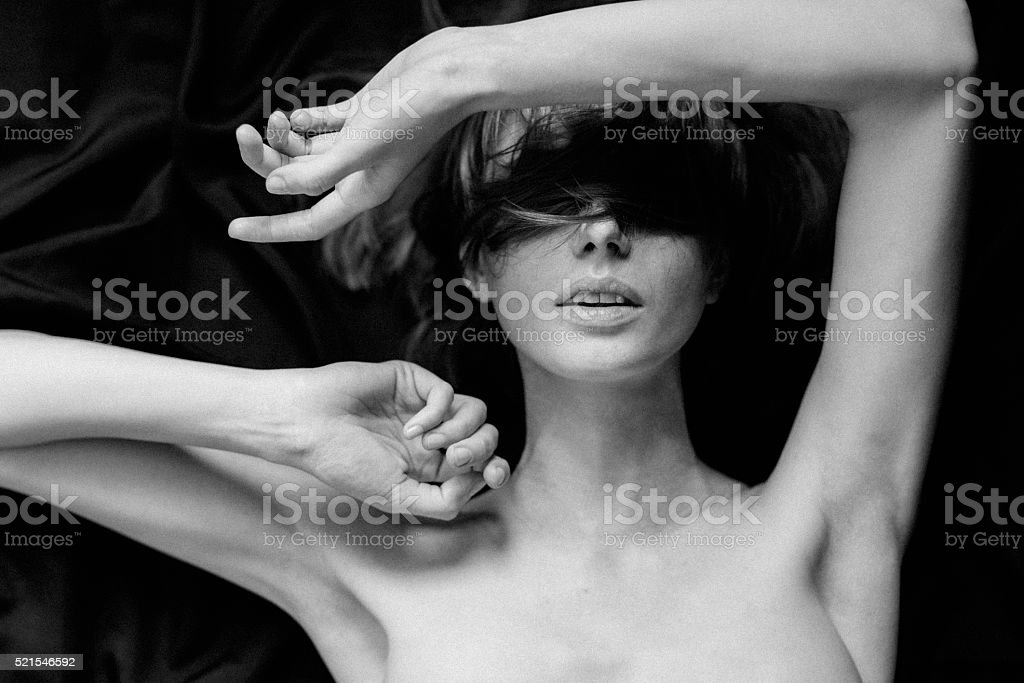 Sensual black-and-white photograph of a woman stock photo