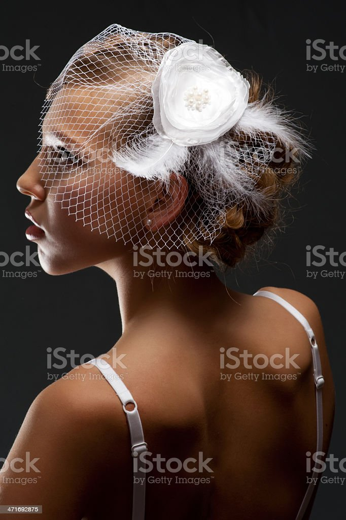 Sensual bride in white veil royalty-free stock photo