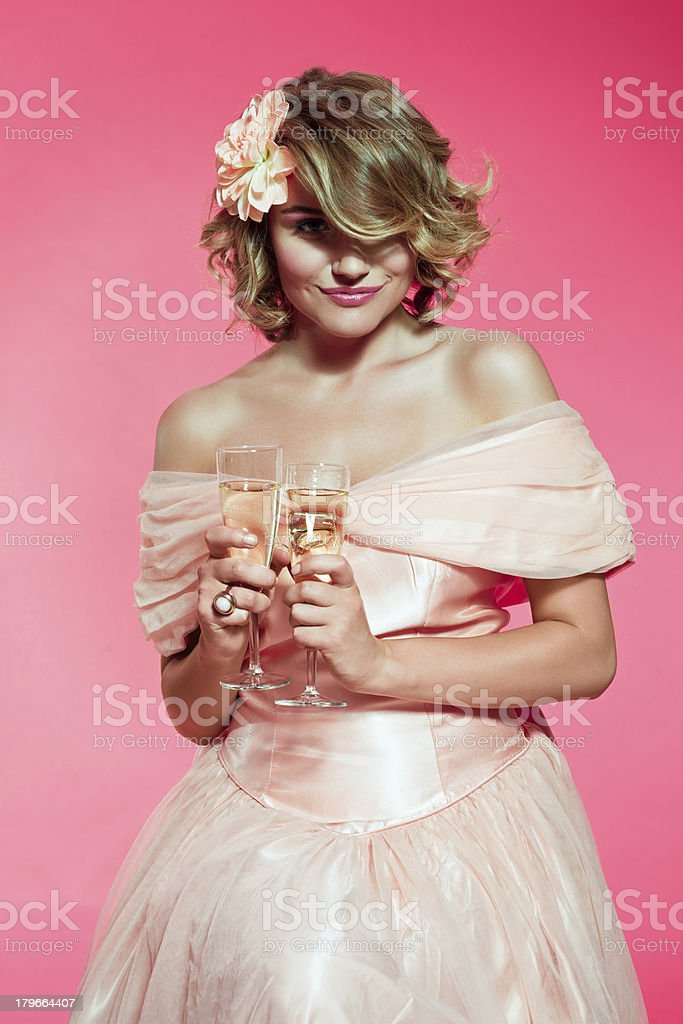 Sensual bridesmaid with champagne royalty-free stock photo