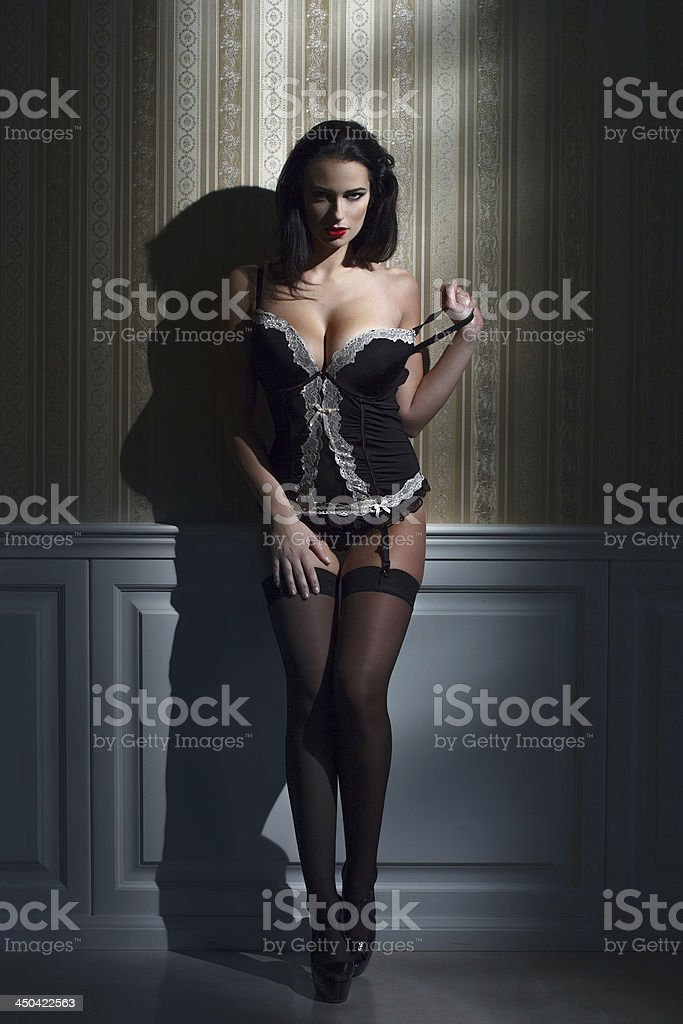 Sensual brunette woman at night royalty-free stock photo