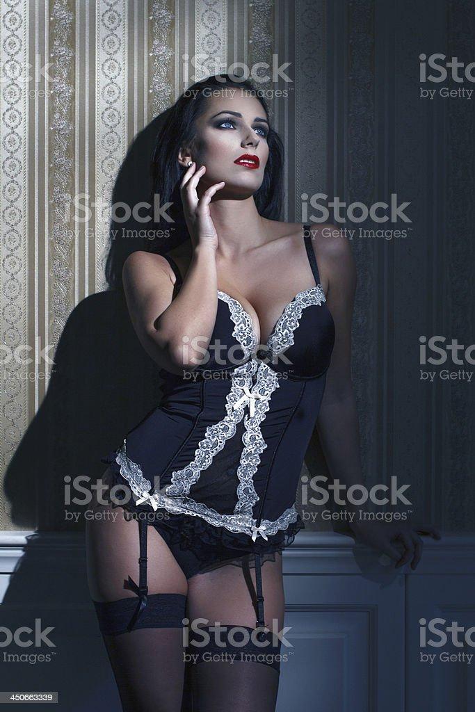 Sensual brunette woman at night royalty-free stock photo