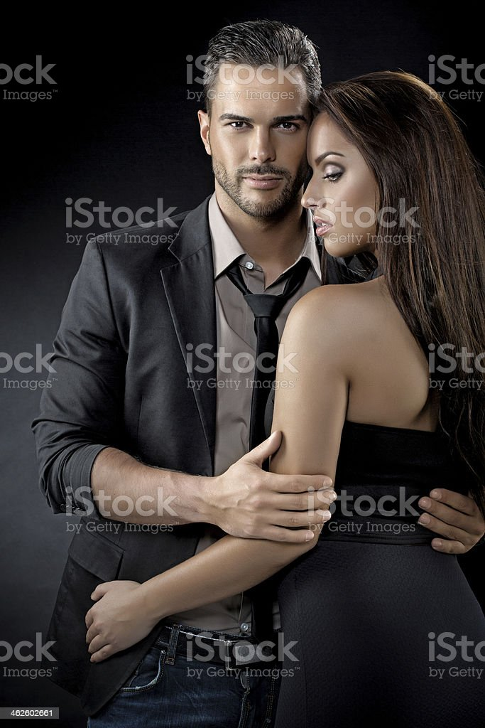 sensual couple in love stock photo