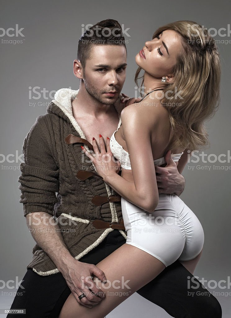 Sensual couple touching each other stock photo