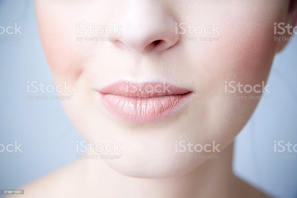 Sensual female lips closeup. stock photo