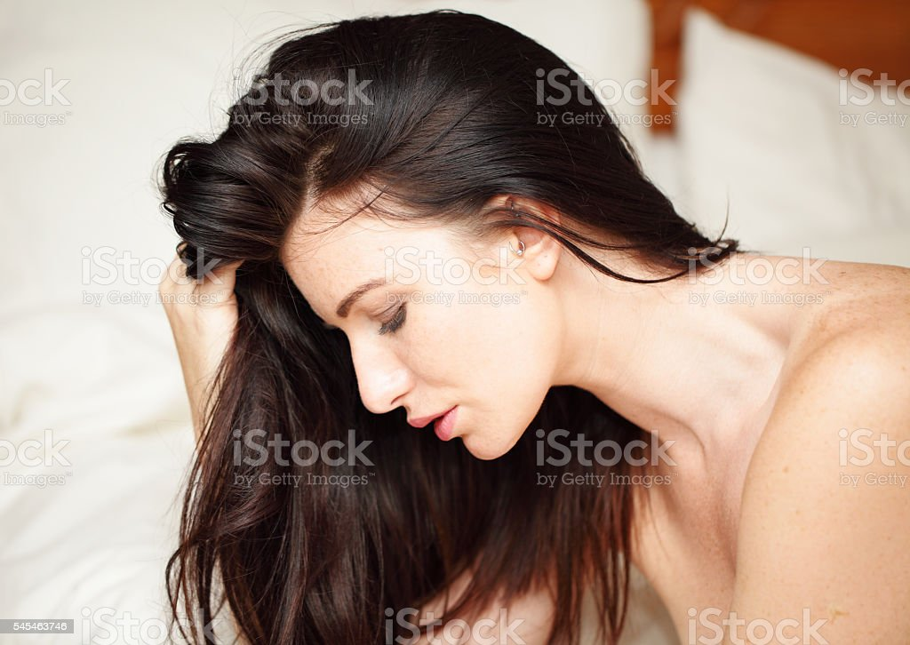 sensual female with long hair stock photo