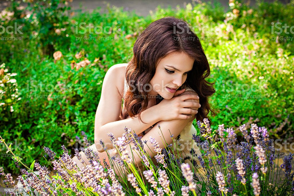 Sensual girl and lavender stock photo