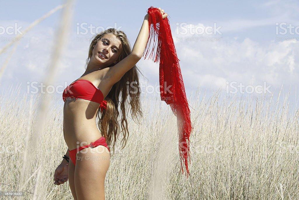 sensual girl with pareo stock photo