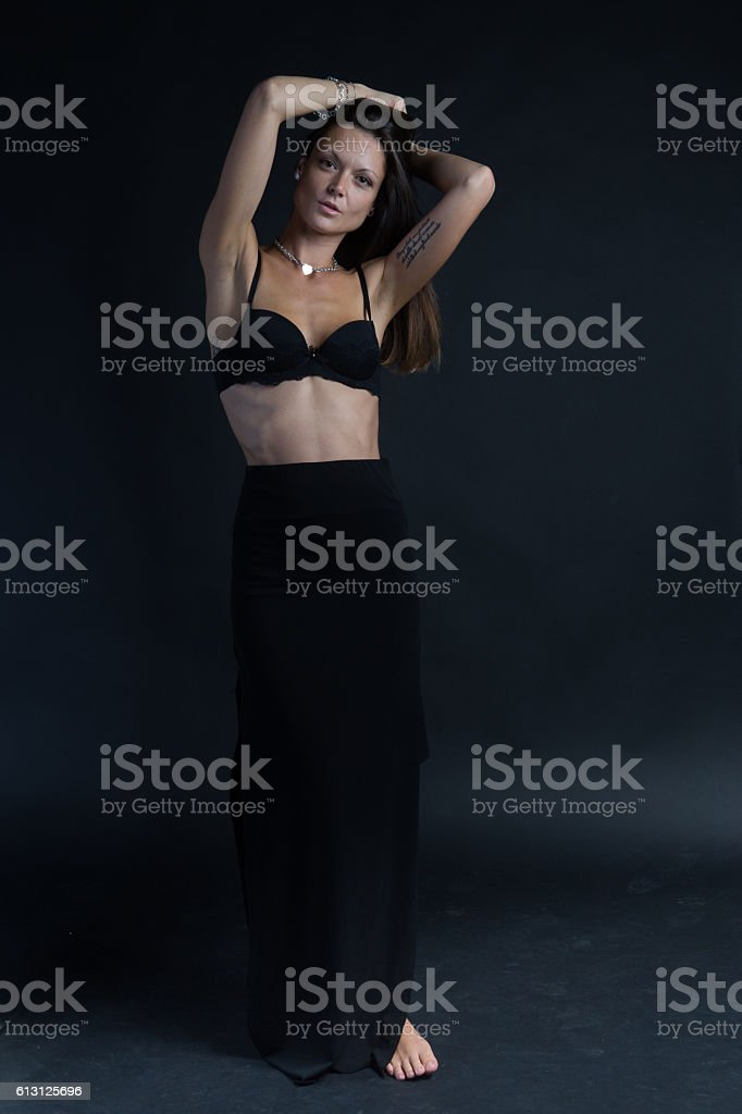 Sensual lady posing in black sexy lingerie stock photo