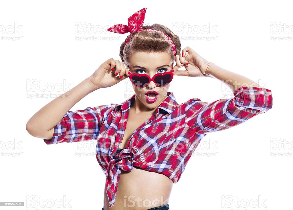 Sensual pin-up style woman stock photo