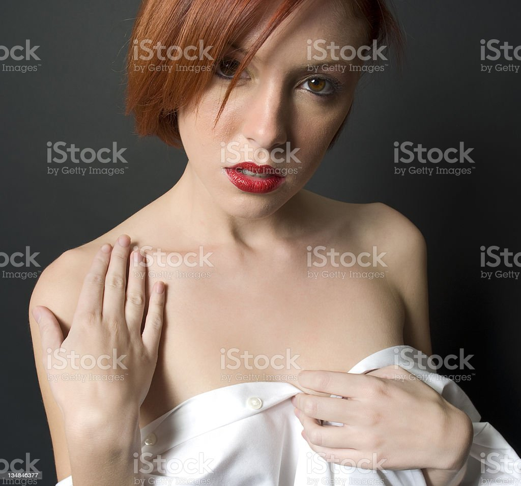 Sensual Red Hair Female Model In Undress stock photo