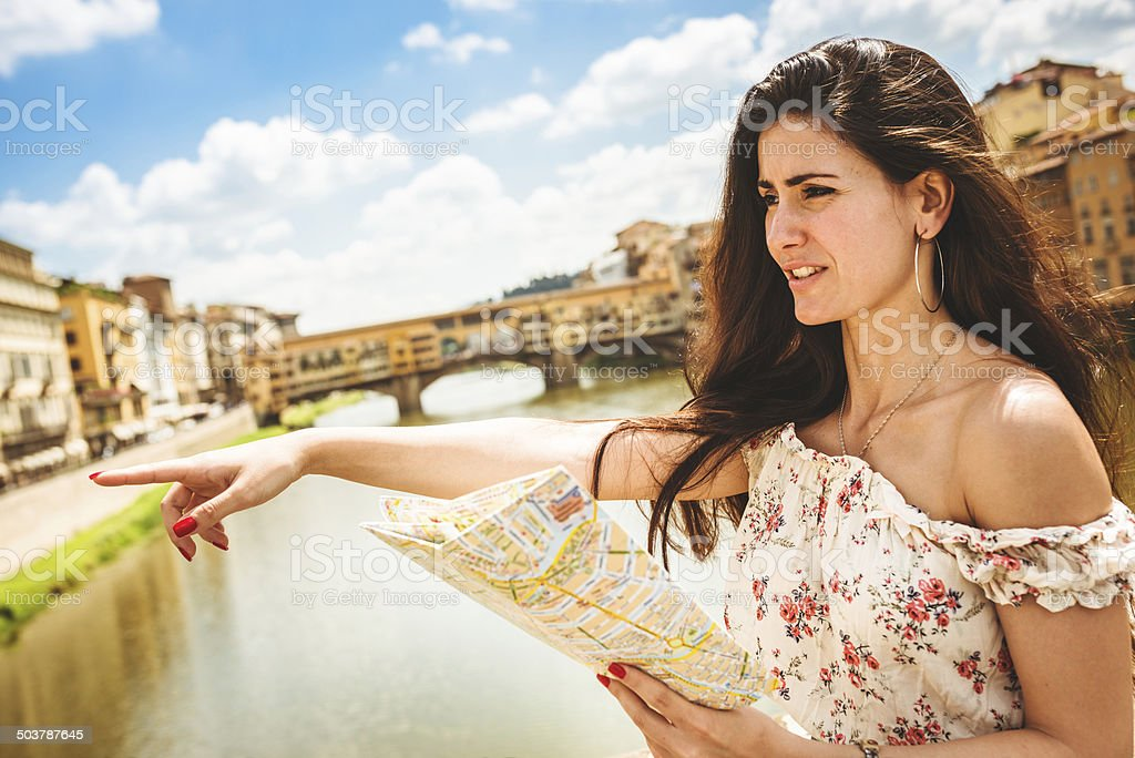 sensual tourist reading a map in Florence royalty-free stock photo