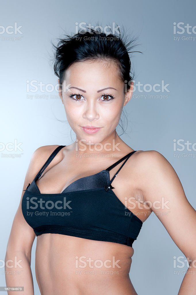 sensual woman in black tank top royalty-free stock photo