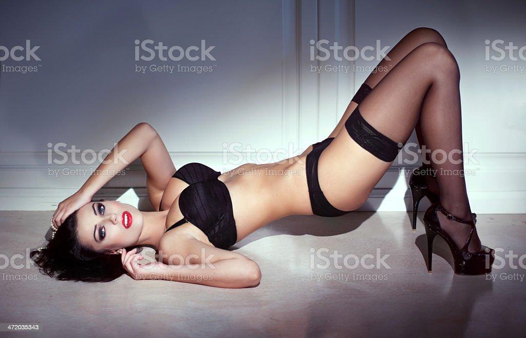 Sensual woman posing at night royalty-free stock photo