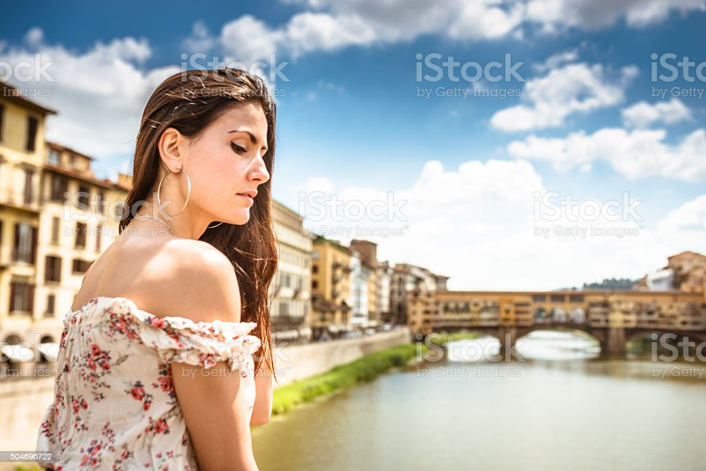 sensual woman standing in Florence stock photo