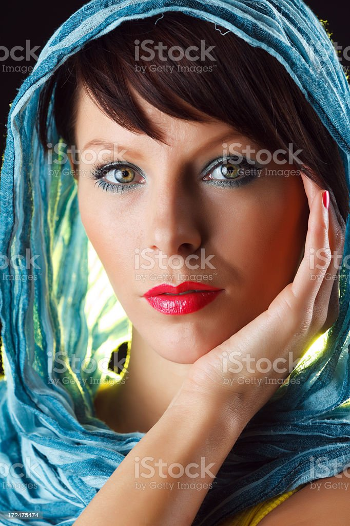 Sensual woman wearing headscarf royalty-free stock photo