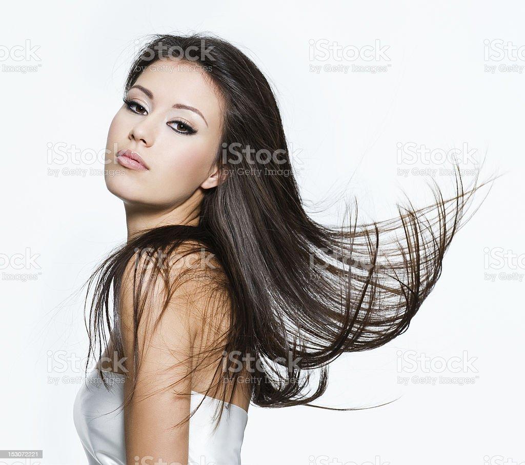 Sensual woman with beautiful long brown hairs stock photo