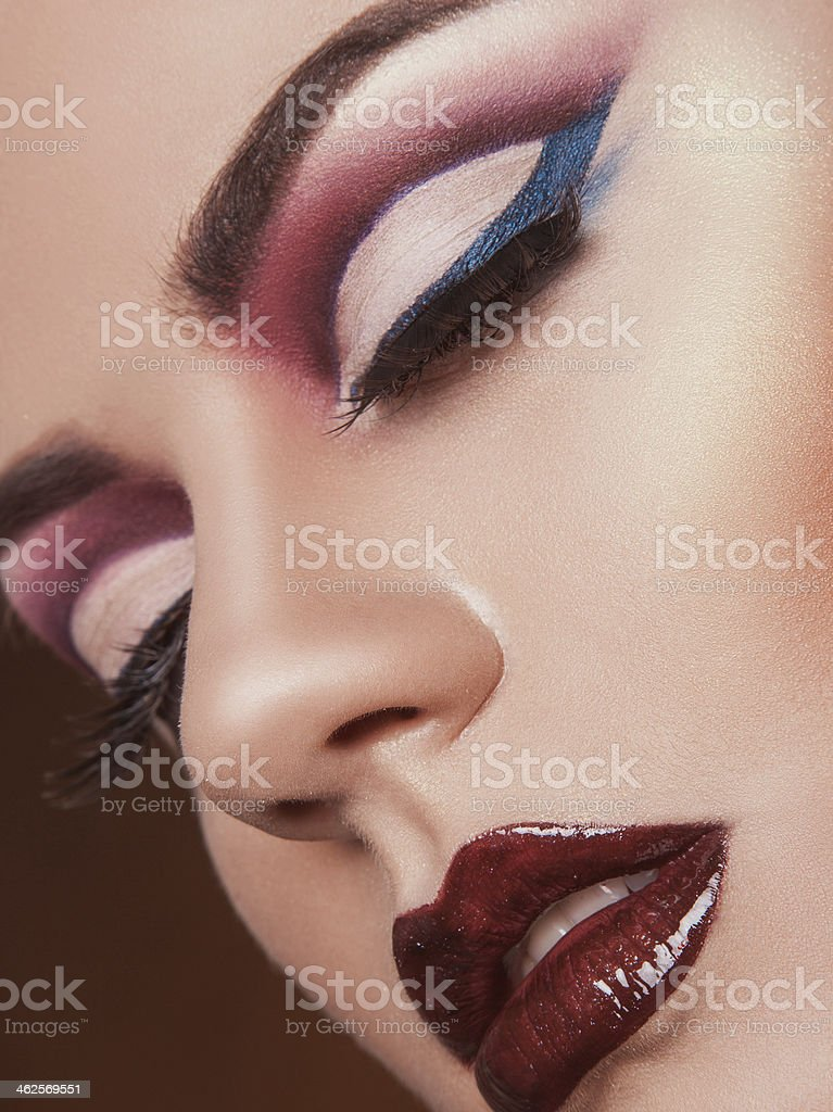 sensual woman with closed eyes and healthy skin in studio stock photo