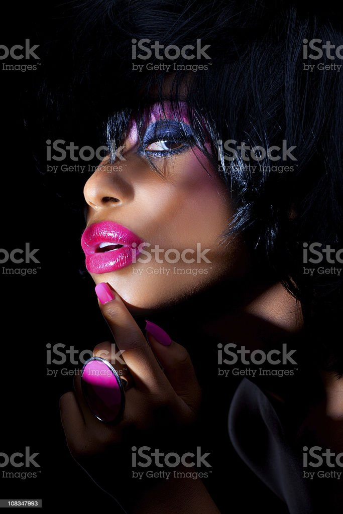 sensual woman with colorful make-up royalty-free stock photo