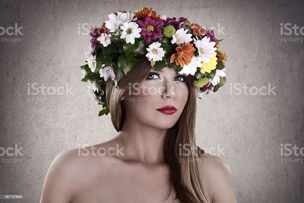 Sensual woman with flower wreath royalty-free stock photo
