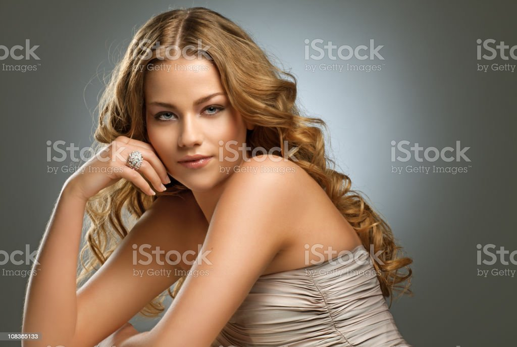 sensual woman with long blond hair posing royalty-free stock photo