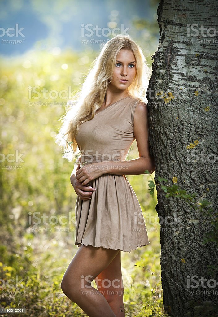 Sensual young blonde woman with short dress in forest stock photo