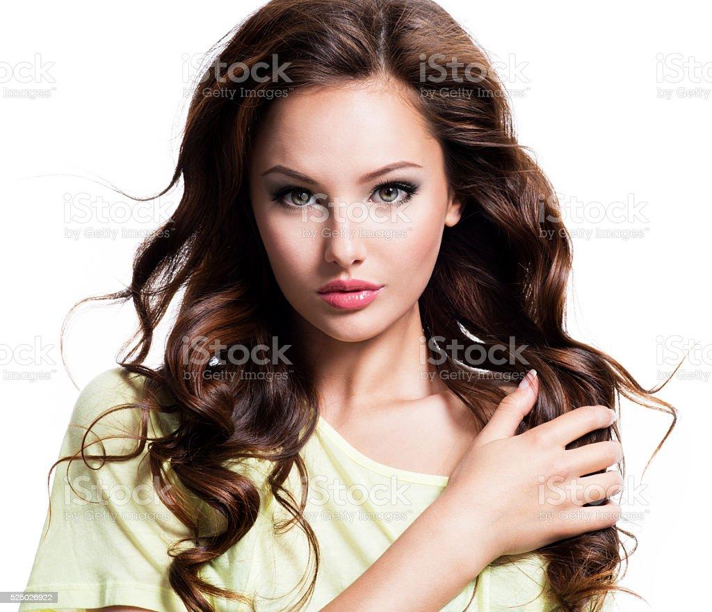 Sensuality beautiful woman with long hair stock photo