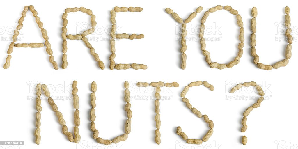 Sentence Written Using Letters Made of Peanuts stock photo